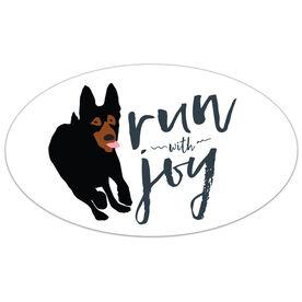 Run With Joy Oval Car Magnet