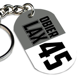 Guys Lacrosse Printed Dog Tag Keychain Personalized Big LAX