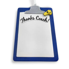 Thanks Coach Resin Ornament - Blue Clipboard (Ready to Sign!)
