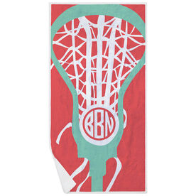 Girls Lacrosse Premium Beach Towel - Monogrammed Lax Is Life