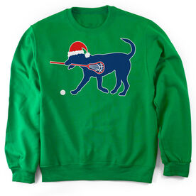 Guys Lacrosse Crew Neck Sweatshirt - Christmas Dog