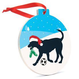 Soccer Round Ceramic Ornament - Soccer Dog