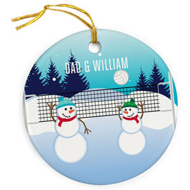 Volleyball Porcelain Ornament Snowman Father & Child