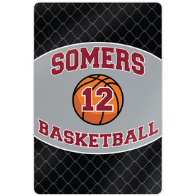 "Basketball Aluminum Room Sign Personalized Basketball Team with Basketball and Number (18"" X 12"")"