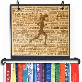 Engraved Bamboo BibFOLIO+™ Race Bib and Medal Display Running Inspiration Female