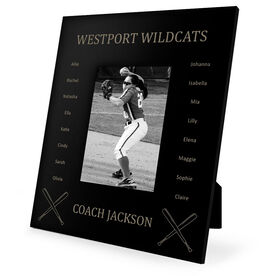 Softball Engraved Picture Frame - Team Name With Roster (Coach)