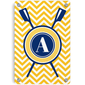 Crew Metal Wall Art Panel - Single Letter Monogram with Crossed Oars and Chevron