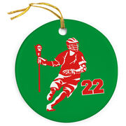 Guys Lacrosse Porcelain Ornament Personalized Dodger Silhouette