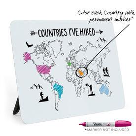 Desk Art - Countries I've Hiked Outline