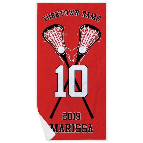 Girls Lacrosse Premium Beach Towel - Personalized Team with Crossed Sticks