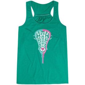 Girls Lacrosse Flowy Racerback Tank Top - Lacrosse Stick Heart Pink Teal White