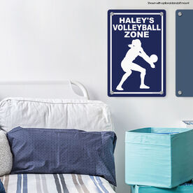 "Volleyball Aluminum Room Sign Personalized Volleyball Zone (18"" X 12"")"