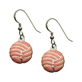 Silver Enameled Volleyball Earrings