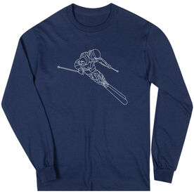 Skiing Long Sleeve T-Shirt - Skier Sketch