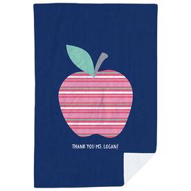 Personalized Teacher Premium Blanket - Striped Apple