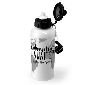 Personalized 20 oz. Stainless Steel Water Bottle - Adventure Awaits Globe