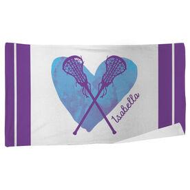 Lacrosse Beach Towel Watercolor Heart