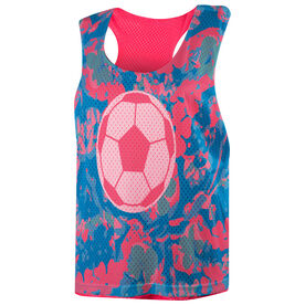 Soccer Racerback Pinnie - Floral with Soccer Ball