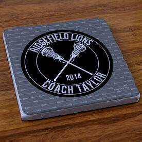 Girls Lacrosse Stone Coaster Personalized Coach with Crossed Girl Sticks