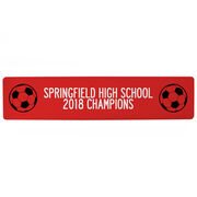 "Soccer Aluminum Room Sign - Team Your Text With Balls (4""x18"")"