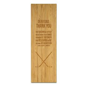 "Hockey 12.5"" X 4"" Engraved Bamboo Removable Wall Tile - Dear Dad"