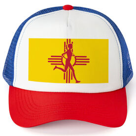 Running Trucker Hat - New Mexico Flag Female Runner