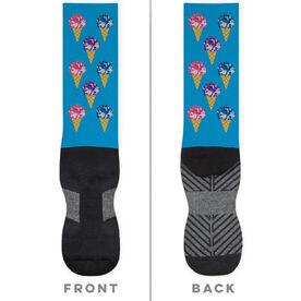 Cheerleading Printed Mid-Calf Socks - Scream For Ice Cream