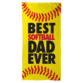 Softball Beach Towel Best Dad Ever