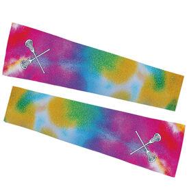 Girls Lacrosse Printed Arm Sleeves - Tie Dye Pattern with Lacrosse Sticks