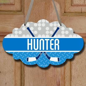 Hockey Cloud Room Sign Personalized 2 Tier Patterns with Crossed Sticks