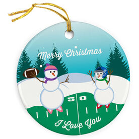 Football Porcelain Ornament Go For The Pass Snowman Mom