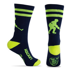 Hockey Woven Mid-Calf Socks - Player (Blue/Neon Yellow)