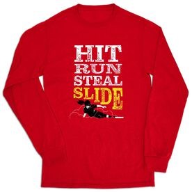 Softball Tshirt Long Sleeve - Hit Run Steal Slide