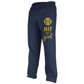 Softball Fleece Sweatpants Softball Hit Like A Girl