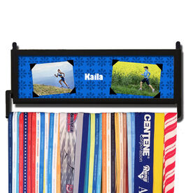 RunnersWALL Personalized 2 Photos with Flower Pattern Medal Display