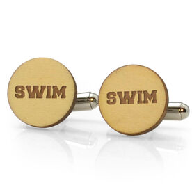 Swimming Engraved Wood Cufflinks Swim