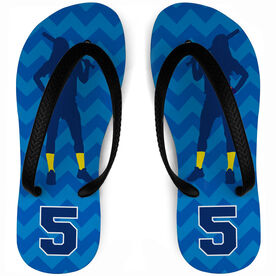 Softball Flip Flops Personalized Player with Chevron