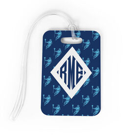Guys Lacrosse Bag/Luggage Tag - Personalized Guys Lacrosse Pattern Monogram