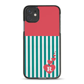Personalized iPhone® Case - Striped Heart Monogram