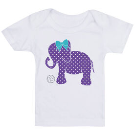 Volleyball Baby T-Shirt - Volleyball Elephant with Bow