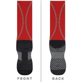 Baseball Printed Mid-Calf Socks - Color Stitches