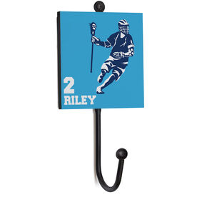 Guys Lacrosse Medal Hook - Player With Name And Number
