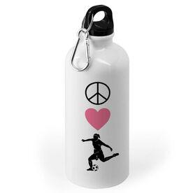 Soccer 20 oz. Stainless Steel Water Bottle - Peace Love Soccer Girl