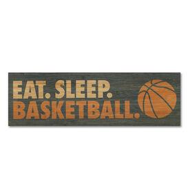 """Basketball 12.5"""" X 4"""" Printed Bamboo Removable Wall Tile - Eat Sleep Basketball"""