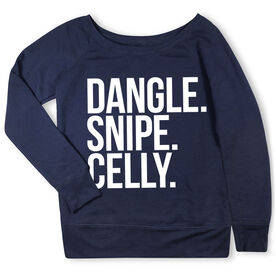 Hockey Fleece Wide Neck Sweatshirt - Dangle Snipe Celly Words