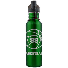 Basketball and Player Number 24 oz Stainless Steel Water Bottle