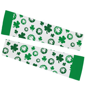 Basketball Printed Arm Sleeves - Shamrock All Over Pattern With Basketballs