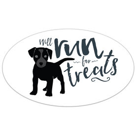 Will Run For Treats Oval Car Magnet