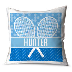 Tennis Throw Pillow Personalized 2 Tier Patterns with Tennis Rackets