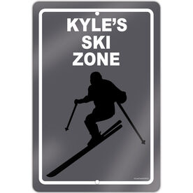 "Skiing 18"" X 12"" Aluminum Room Sign Personalized Ski Zone Guy"